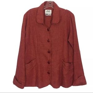 FLAX 100% Linen Button-Front Blazer Jacket Size S